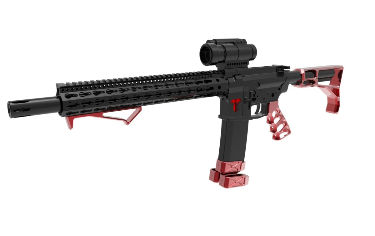 Stock, Grip, Angled Forward Grip and 3 mag extensions - Red