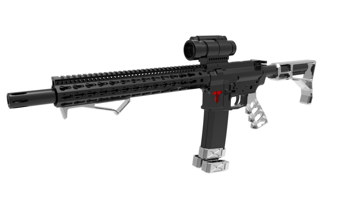 Stock, Grip, Angled Forward Grip and 3 mag extensions - Raw